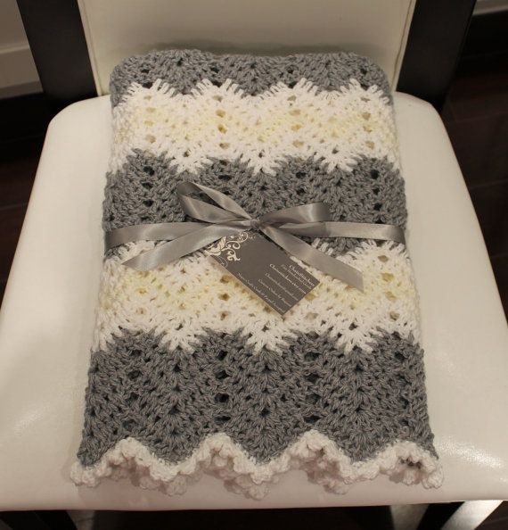 Crochet Chevron Baby Blanket Unisex Baby Boy Blanket Baby Girl Blanket Gray White Beige Yellow Grey Christening Shower Gift