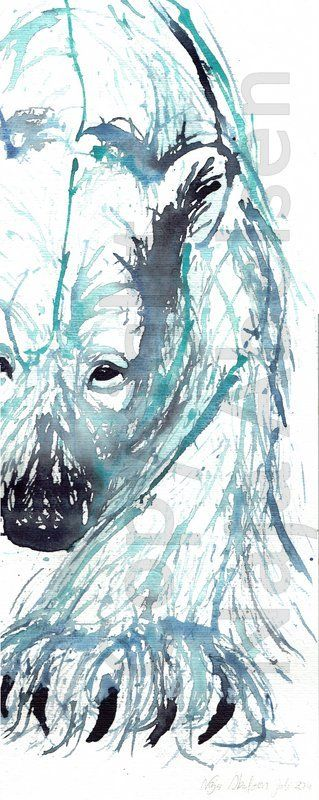 Blue-green polar bear. This original is sold, but a similar bear can be ordered, (but will luckily never be the same, due to the technique) watercolour. 20 x 50 cm. By Naja Abelsen. 2014. www.najaabelsen.dk