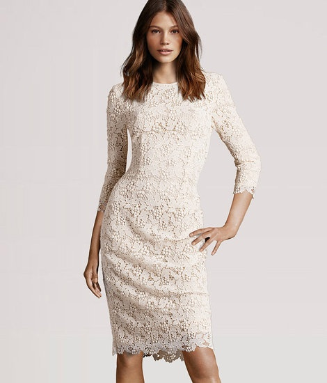 Modest lace wedding dress - knee length