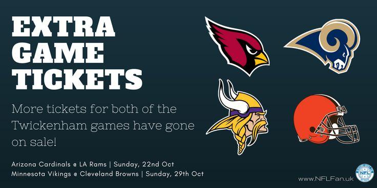 Extra NFL London Twickenham game tickets on sale for both the Arizona Cardinals @ LA Rams and Minnesota Vikings @ Cleveland Browns https://www.fanprint.com/licenses/arizona-cardinals?ref=5750