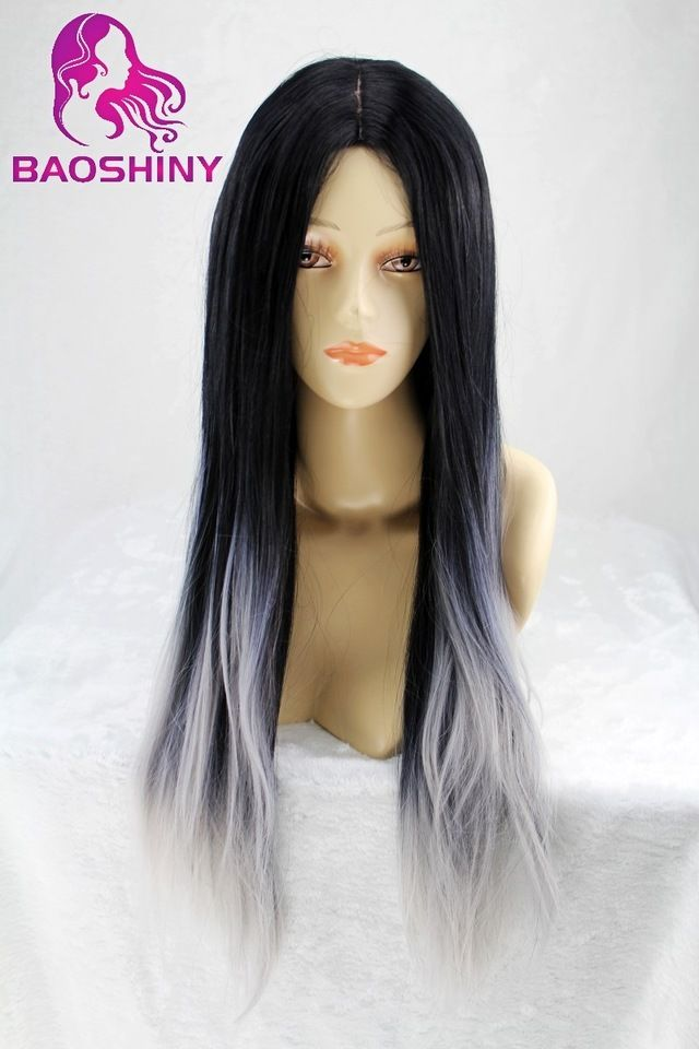 ombre Two tone Synthetic Grey Hair Wigs Natural Cheap Long Straight Heat Resistant Silver Wigs For Black Women Gray Womens Wigs