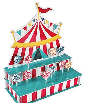 """Give your lollipops the big top treatment! Holds 4 dozen pops. Foam. 18"""" x 8 1/2"""" x 21 1/2"""" Simple assembly required. Lollipops not included. Head over to our lollipop shop to chose your sweet addition. This prop is oversized...please keep in mind we usually ship it via UPS. Please write a note in checkout if you need this item quickly."""