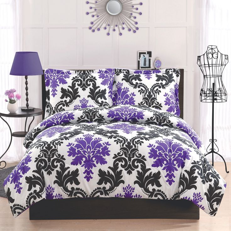 Purple and Black Damask Bedding | Teen Girls Bedding Sets