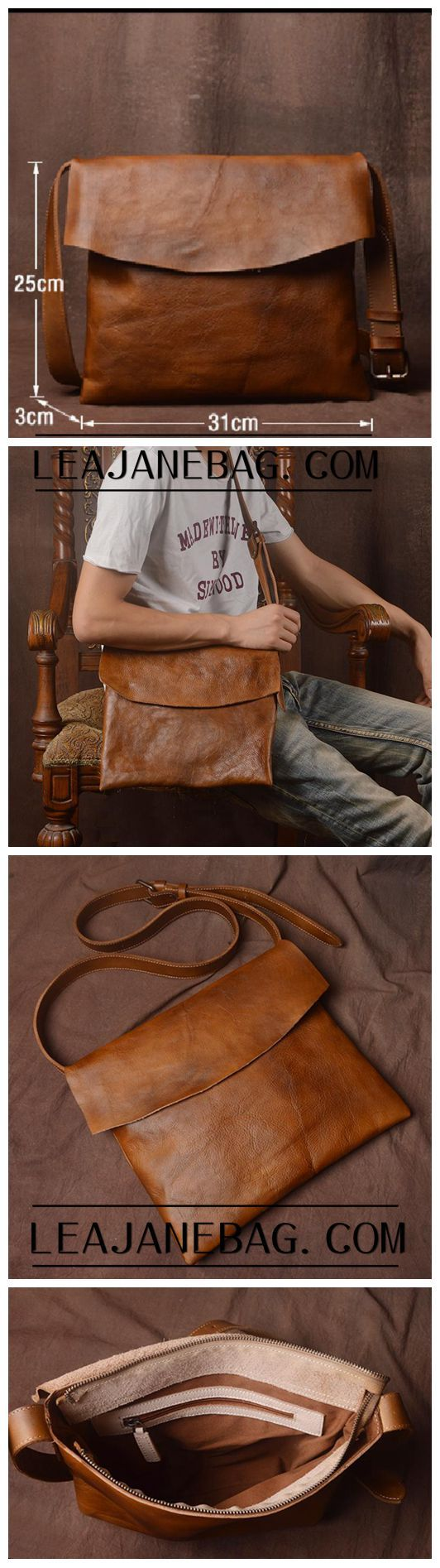 Leather Messenger Bag, School Bag,Leather Shoulder Briefcase JZ005