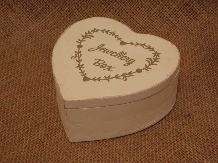 Chic White Wooden Heart Shaby Jewellery Box, £5.25