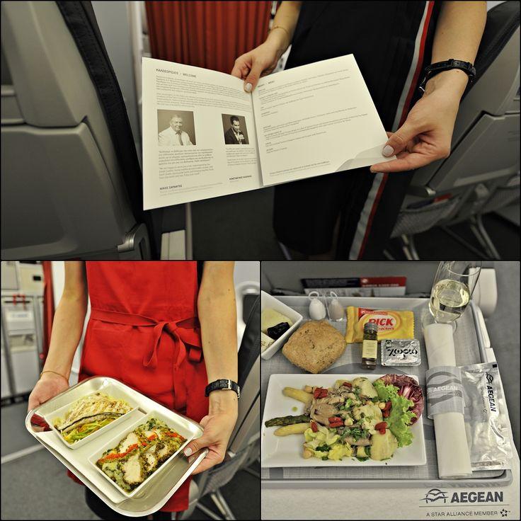 Στην διακεκριμένη θέση παρουσιάζεται το Menu της πτήσης με επιλογή γεύματος από δύο πιάτα.