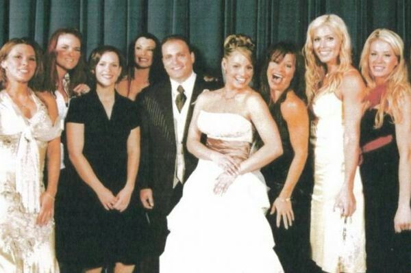 Trish Stratus wedding photo with Mickie James, Lita, Molly Holly, Victoria, Ivory, Torrie Wilson, and Ashley Massaro