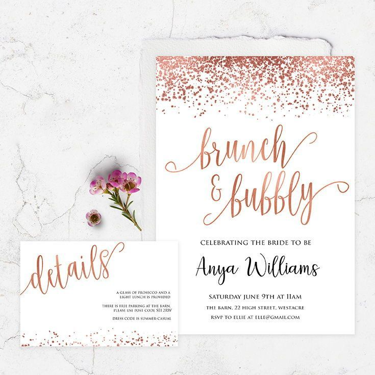 Editable Brunch Bubbly Invitation Rose Gold Foil Rose Gold Bridal Shower Bridal Shower Invitations Templates Gold Bridal Showers