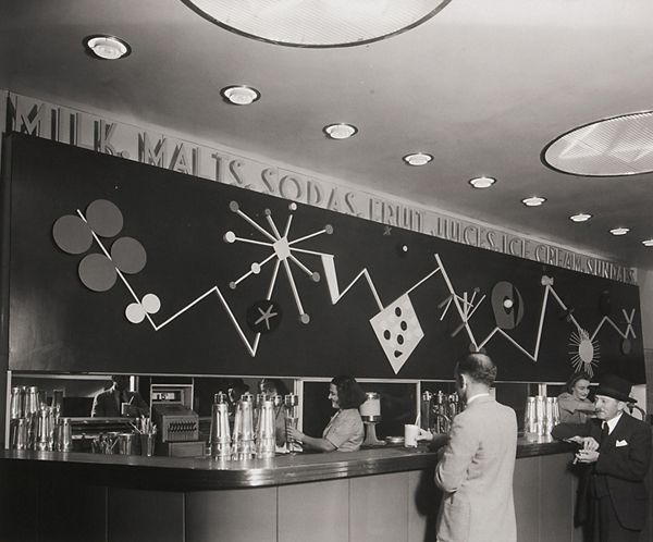 1948 : Patricia's Milk Bar, murals by Douglas Annand, photo by Max Dupain