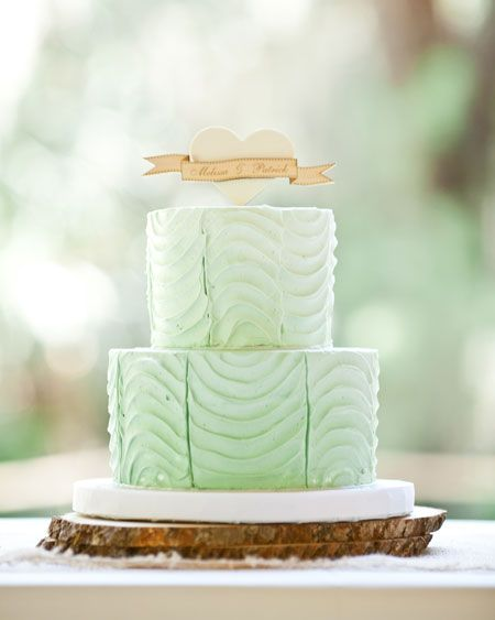 weddingcakes/green | Mint Green Wedding Cake with a Wooden Topper