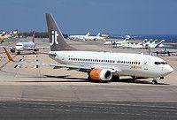 Jettime Finland Boeing 737-73S(WL) OH-JTZ aircraft, skating at Spain Gran Canaria Ls Palmas International Airport. 02/11/2016.