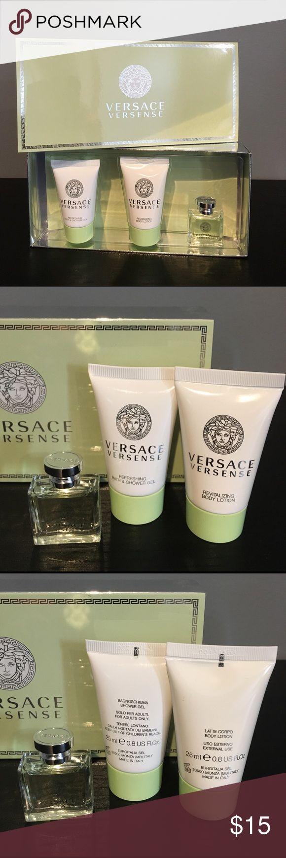 Versace Versense Gift Set Versace Versense Gift Set. 100% Authentic Versace. Refreshing Bath & Shower Gel - 25ml 0.8 fl.oz. Revitalizing Body Lotion - 25ml 0.8 fl.oz. Frag. - 5ml 0.17 US fl.oz. MINI SIZE, TRAVEL SIZE. Versace Other