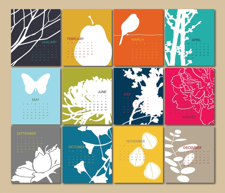 2013+Calendar+cards+only+by+modernarteveryday+on+Etsy,+$14.00