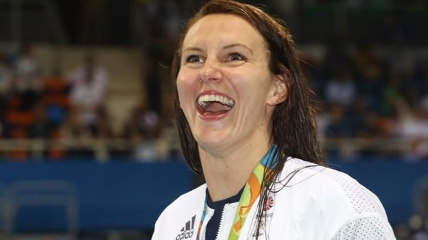 Great Britain's Jazz Carlin takes silver in the women's 400m freestyle.