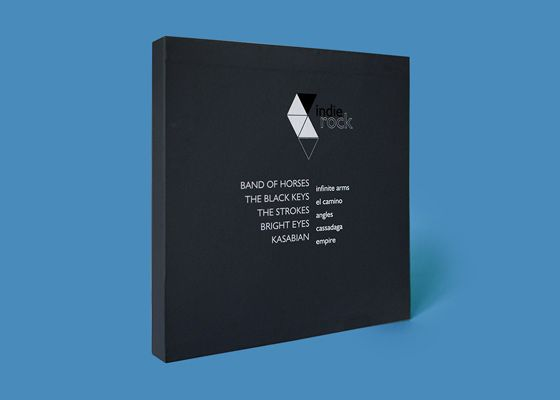 Set of vinyl packages for indie rock bands: The Strokes, Kasabian, The Bright Eyes, Band of Horses and The Black Keys. Project includes five packages for each band and a website.