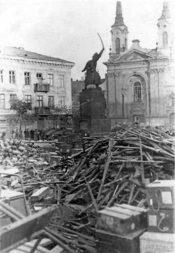 Pile of Polish rifles collected by German troops, Warsaw, Poland, Sep 1939