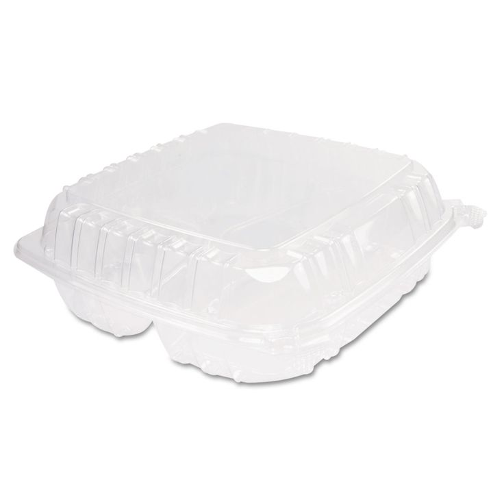 Clearseal Plastic Hinged Container, 3-Comp, 9 X 9-1/2 X 3, 100/bag, 2 Bags/ct