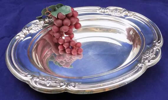Gorham Silverplate Oval Dish, Newport Silverplate by Gorham, Serving Dish with Ornate Beaded and Floral Edge