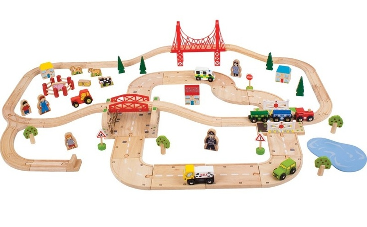 Travel by road and rail with this bumper wooden train set. This 80 piece set intersects at a level-crossing where the four road vehicles included will have to wait whilst the train engine and two carriages cross their path. Best of all, it's compatible with other leading wooden toy train brands.