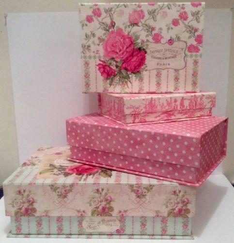 4 Tri Coastal Victorian Rose Shabby Chic Keepsake Organize Storage FlipTop  Boxes