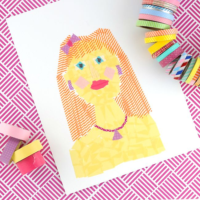 Make Portraits Using Only Torn Pieces Of Washi Tape Fun