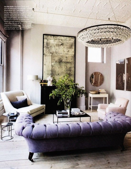 Attrayant Luxury, Lavender Tufted Sofa, Aged Mirror, Interior Design, Living Room  Design Decorating Design Decorating Before And After