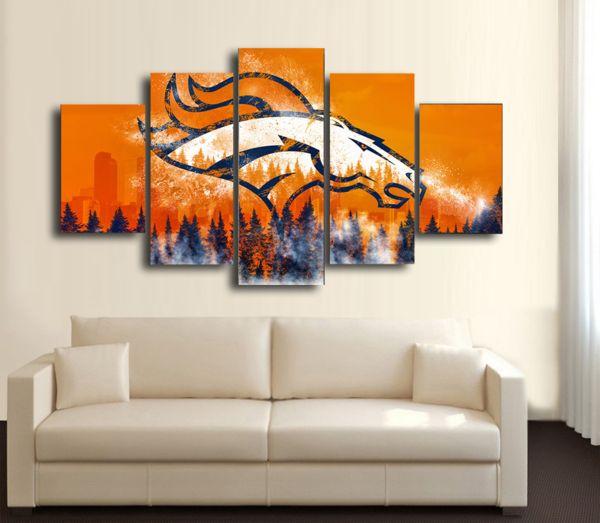 HD Printed Denver Broncos Football 5 Pieces Canvas