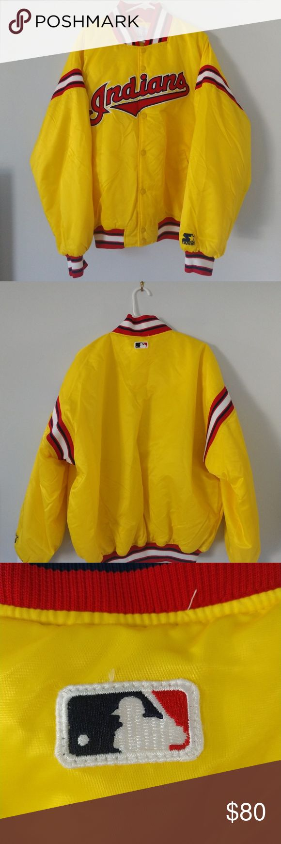 Authentic MLB Cleveland Indians Starter Jacket XL Vintage Late 90s MLB Cleveland…