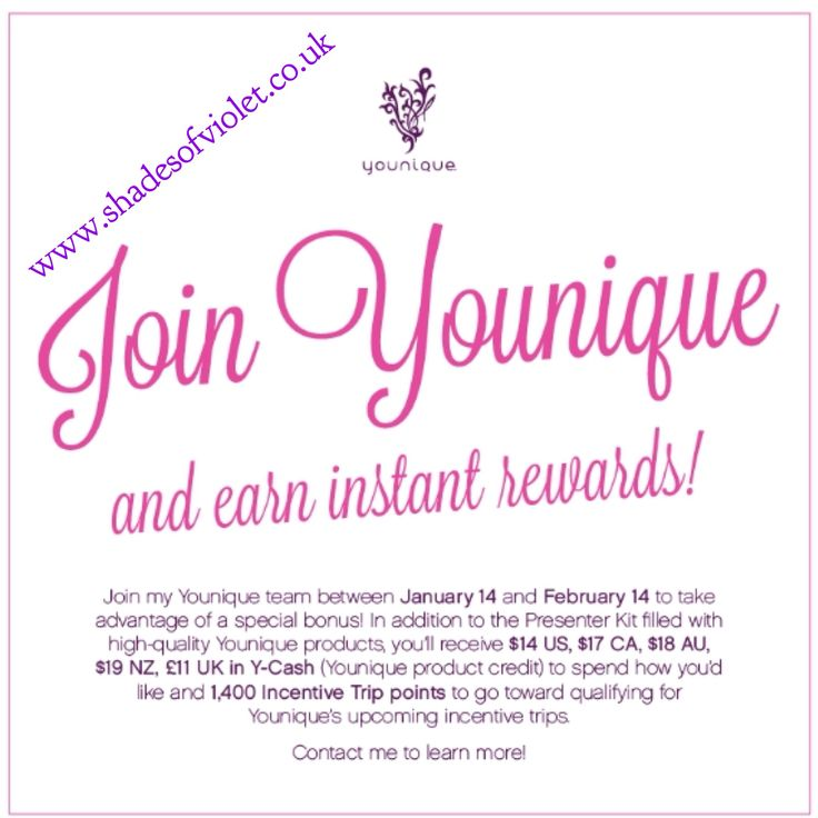 Looking for a genuine work from home opportunity? Where you get paid commission, free make up and the chance to win incentive trips?? Anyone who joins before February 15th will receive an money back from their first order on top of commissions and 1400 incentive points towards our Jamaica cruise trip in October! Visit www.shadesofviolet.co.uk and click join. Currently available in UK, USA, NZ, AUS, CAN