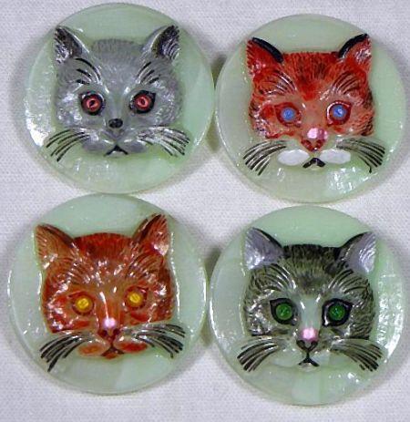 Vintage Czech Glass Cat Faces Buttons