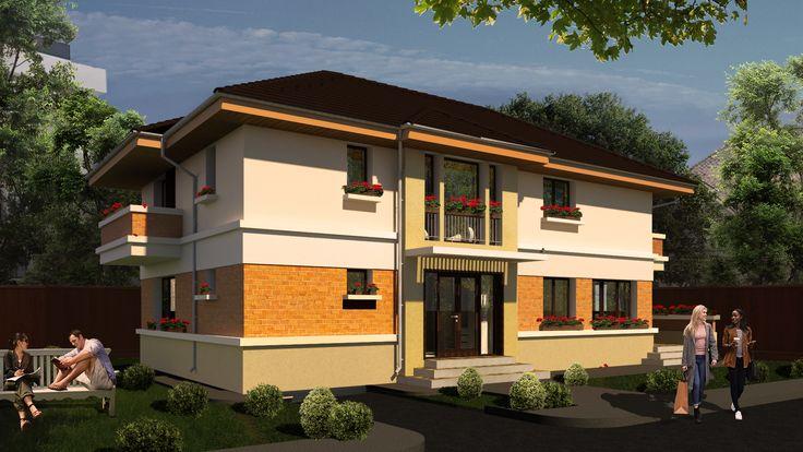 Proiect de casa moderna cu etaj- Vedere intrare principala |  Single-family dwelling- The main entrance |