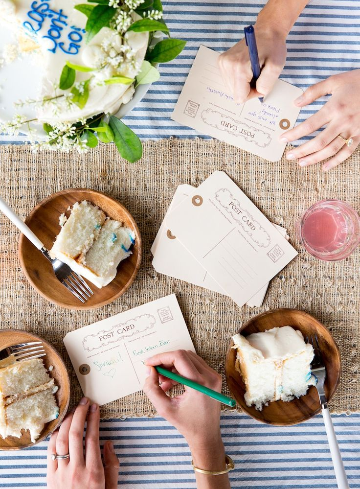 Have guests write postcards to your guest of honor for a bon voyage party