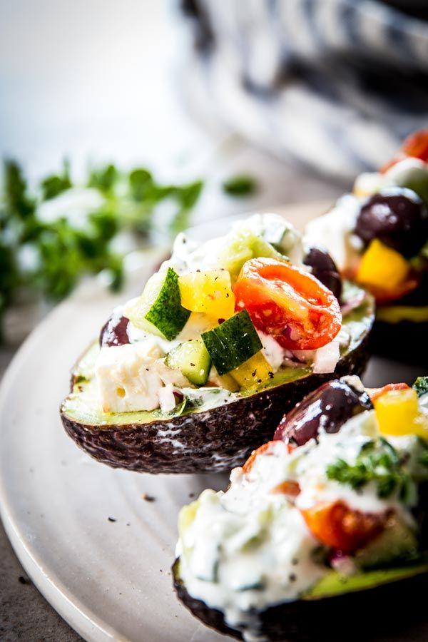 Chopped Greek Salad Stuffed Avocados with Tzatziki Sauce – Dan330