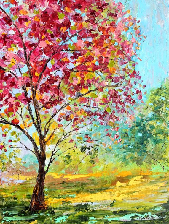 Original oil painting Summer Blossoms Tree on canvas by Karen Tarlton impressionism #impasto #landscape_painting