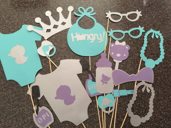 ITS A GIRL grey purple and teal baby shower by flutterbugfrenzy