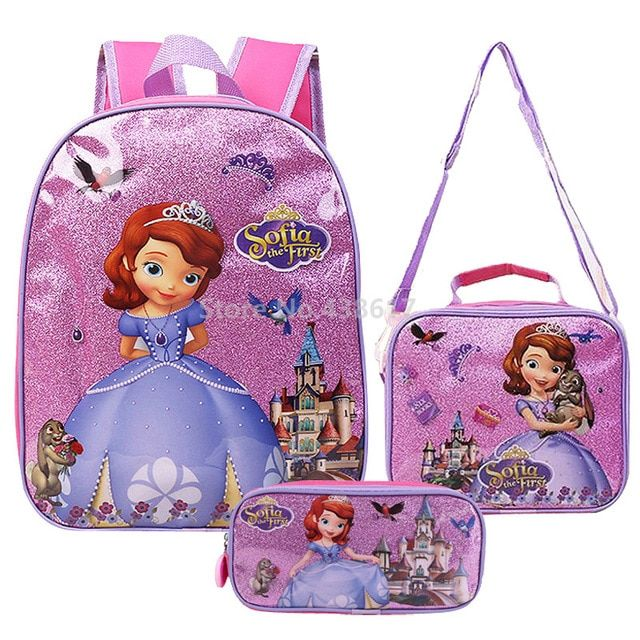 Palace Girls Blue Preschool Toddler Childrens Backpack /& Lunch Box Set