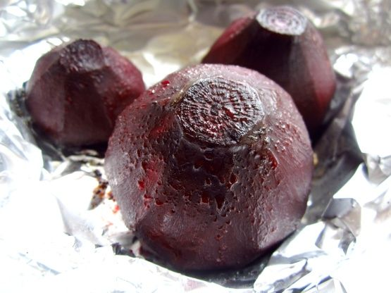 I found this on Food Network within a Bobby Flay roasted beet salad recipe. I wanted the recipe for roasted beets and this one was the best Ive seen as far as simple and no mess! You wrap the beets in foil with a little oil and bake!