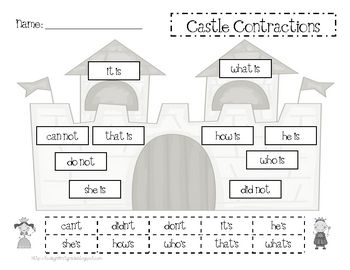 Castle Contractions Independent Worksheet