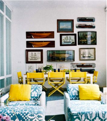 blue and yellow: Interior, Dining Room, Beach House, Color, Directors Chairs, Living Room, Director'S Chair, Yellow, Director S Chairs