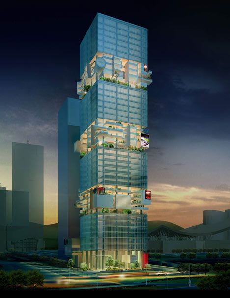Architect Hans Hollein of Vienna has designed this high-rise office tower for Shenzhen, China. Called SBF Tower, the 200 meter-tall building will have 42 storeys. These will be divided into alternating zones, with six glazed storeys that have identical floor plates followed by five plates with irregular plans forming terraces.