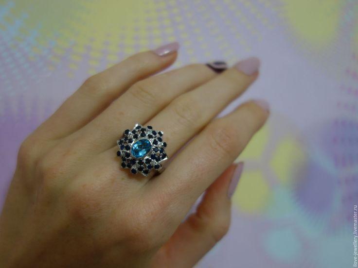 """Купить """"Callisto""""-очень красивое кольцо с голубым топазом и сапфирами - синий, кольцо с сапфирами"""