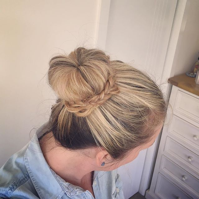 Today's hair was inspired by @missysueblog! Check out her page cause she has some great hair ideas. Mine looks no where as neat as hers does so I'm just going with a #messybun instead...but I still had fun giving it a go  #bun #hairstyles