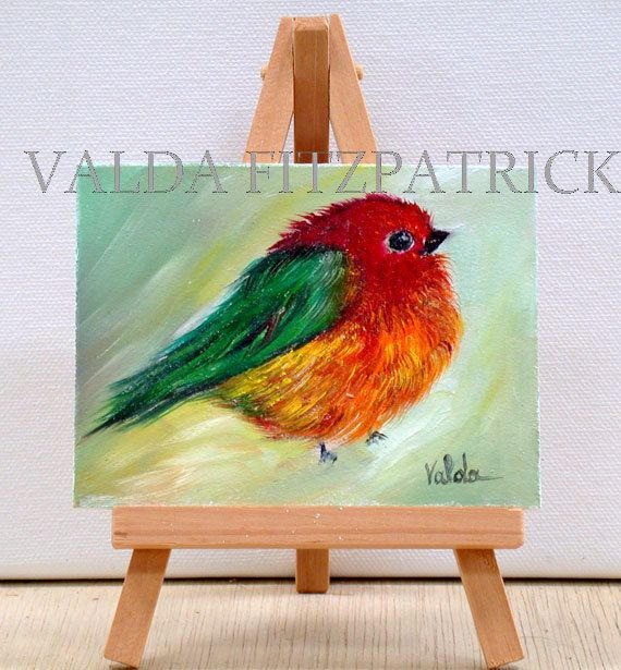 Sparrow Bird original  miniature oil painting by valdasfineart