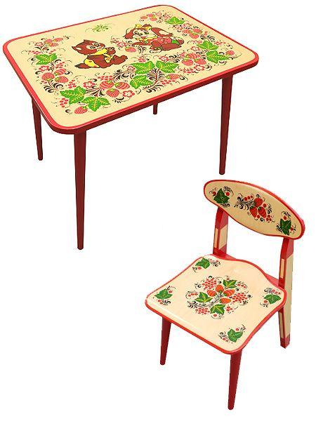 Набор детской мебели Хохлома - стол и стул из дерева с художественной росписью, арт. 8202-7905, детские столы и стулья, мебель для детских садов, детский стол, детская мебель стул, стул детский деревянный, детский стол и стул, купить детский стол