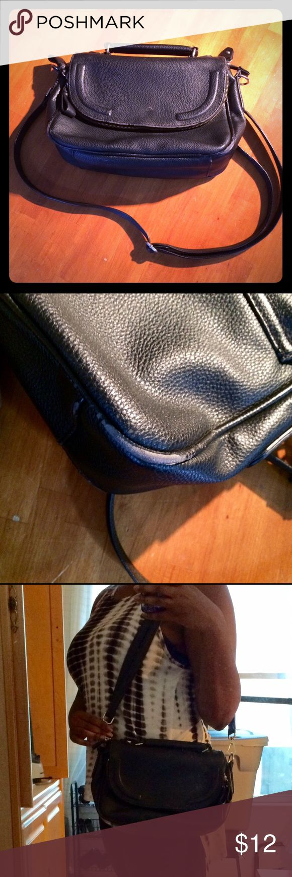 H&M purse Sleek black medium sized bag with flap zipper compartment. Normal wear, no major damage. H&M Bags