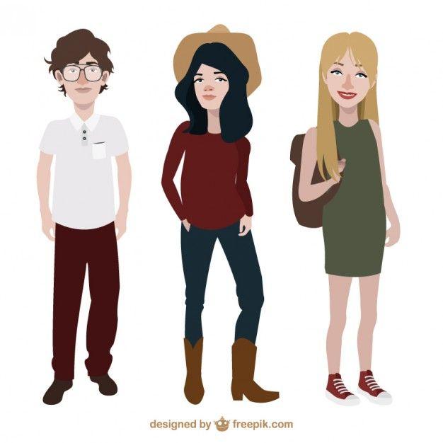 Adolescentes con diferente estilo de ropa Vector Gratis ...