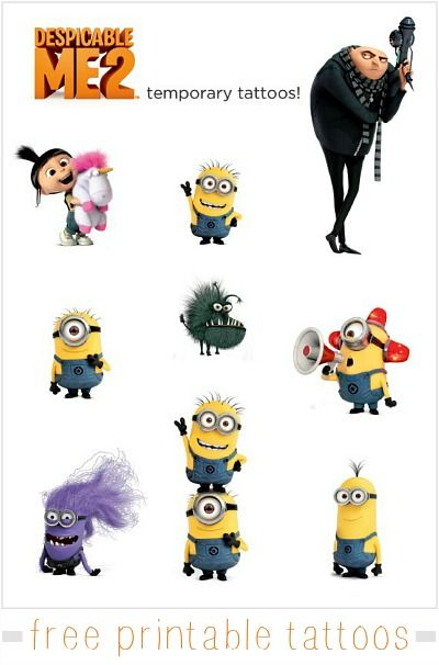Despicable Me 2 Tattoos {free printable} #DespicableMe #DespicableMe2