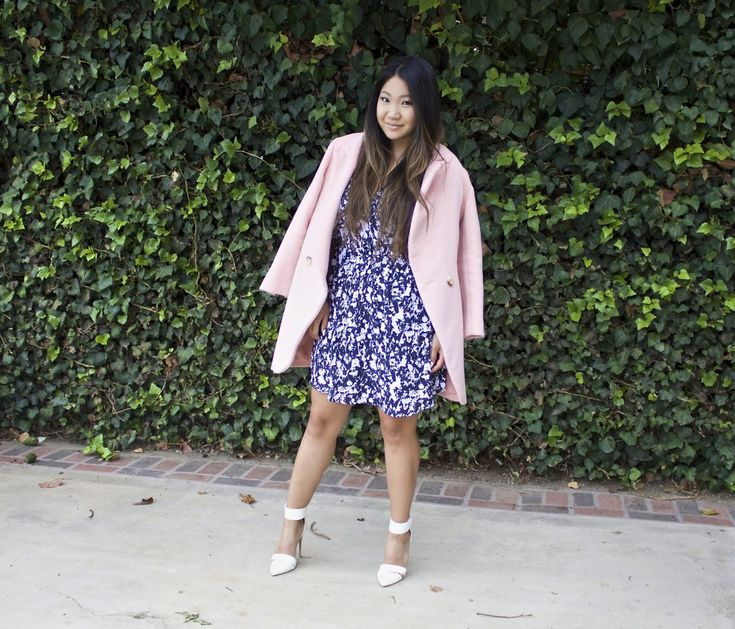 Today's church outfit: Printed Wrap Dress and pink oversized coat. Sunday Best | Church Outfit | Modest church outfit | Modest Dress | LDS | Mormon Blogger |