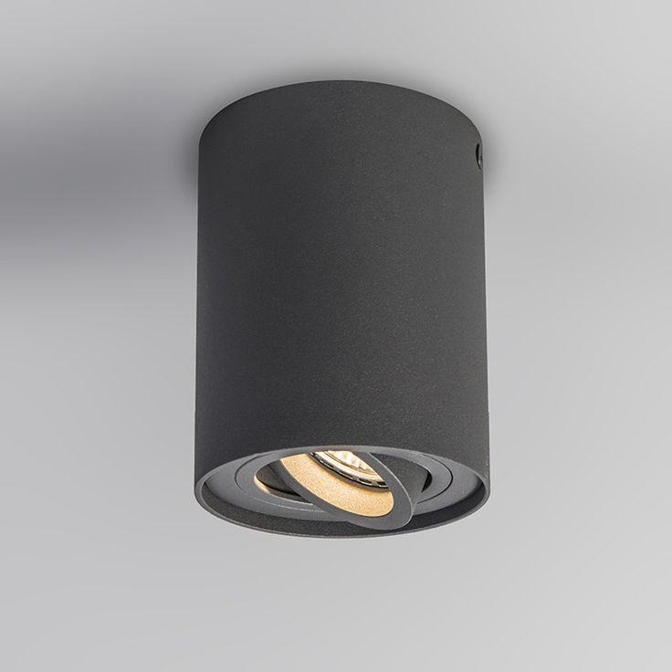 Deckenstrahler  Rondoo Up dunkelgrau: Strahler Qubo 2 dunkelgrau: Schöner, schlanker Designer-Strahler vollständig aus Aluminium gefertigt, mit schönem Strukturallack abgearbeitet. Auch die Innenseite, in dem das Leuchtmittel eingesetzt wird, ist eingefärbt.#deckenbeleuchtung #lampen #strahler #einrichten