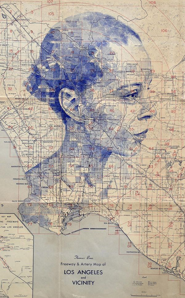 California Map Hwy 99%0A Another fantastic series of map drawings by Ed Fairburn  showing at Mike  Wright Gallery in